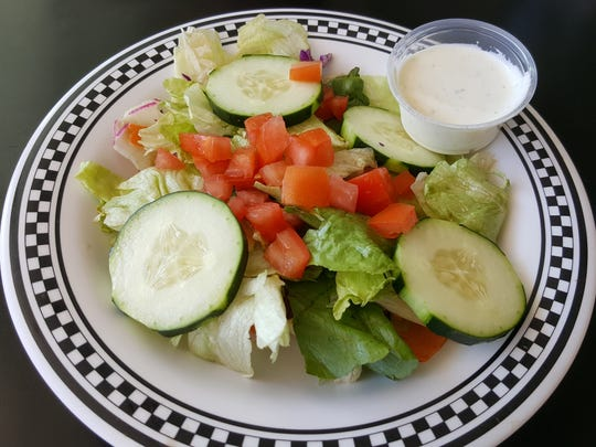 A side salad, offered with certain meals, at Pancake Alley.