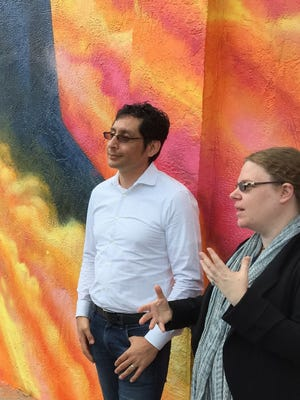 Willow Street Capital co-founders Miguel Rivera and Naomi Mirsky discuss their downtown Melbourne project during a trip to town Monday.