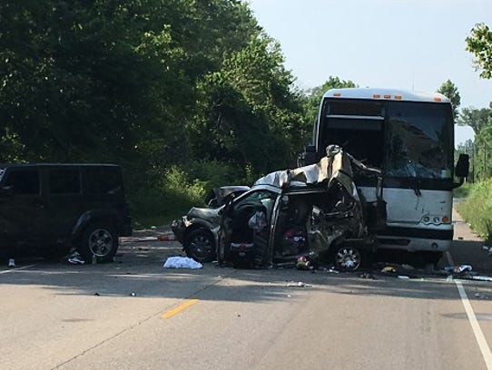 A bus crash north of Bloomington killed two women and