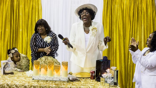 Daisy Miller talks to her family and friends during her 80th birthday celebration Feb. 10, 2018, at Mt. Moriah East Baptist Church in Orange Mound. Miller, owner of Orange Mound Grill, once made food for Martin Luther King Jr.