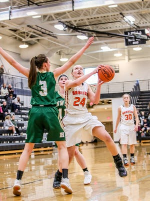 Brighton's Sophie Dziekan (24) scored 13 points and grabbed nine rebounds in a 38-24 victory over Plymouth Friday night.