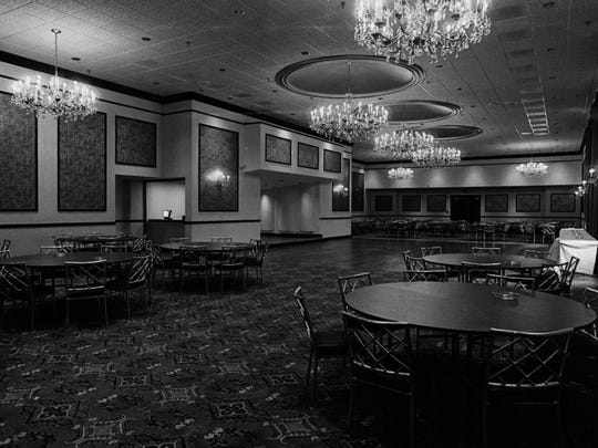 This photo from April 1973 shows Corbett Tower when it first opened.The drop ceiling is here; the windows are covered with heavy curtain. The space, used for social occasions and CSO fundraisers. Because of a lack of funds, little was done to the room during a massive renovation of Music Hall aroudn 1970. In previous incarnations, the space was WCET's first studio, an exhibition space and storage.