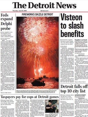 Detroit News front page from June 30, 2005 .