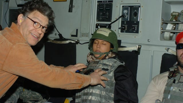 Broadcaster Leeann Tweeden shared this December 2006 photo in which she says now Sen. Al Franken groped her without her consent on a USO Tour.