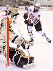 St. Cloud State's Blake Winiecki takes a shot at Western