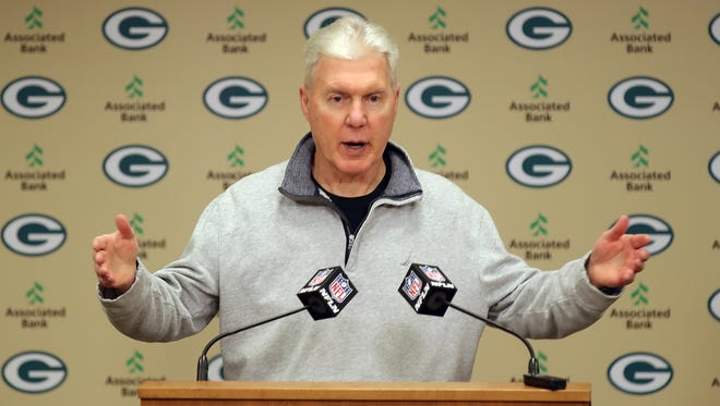 Green Bay Packers general manager Ted Thompson addresses the media during his pre-draft news conference  April 19, 2017