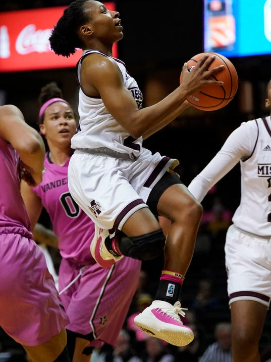 Mississippi State guard Morgan William (2) goes to the basket against Vanderbilt in the second half of an NCAA college basketball game Thursday, Feb. 15, 2018, in Nashville, Tenn. (AP Photo/Sanford Myers)