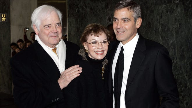 George Clooney, with parents Nick and Nina, in January 2008 in New York.