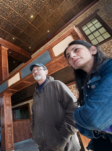 Tom Kocoronis and Athena Keares inside the future The First Post restaurant under construction on the location of the former Roadhouse Monday April 6, 2015. 3691 E. Market Street, Springettsbury Township, corner of East Market Street and Cinema Drive.