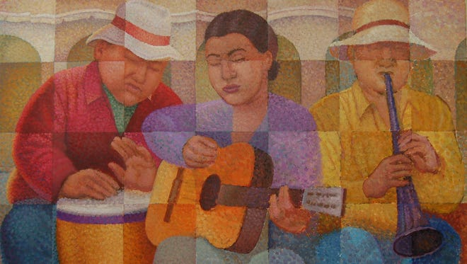 """""""Trio Panama"""" by Robert Dozal won best of show in the El Paso Art Association's """"Colors of Song 2016"""" exhibition."""