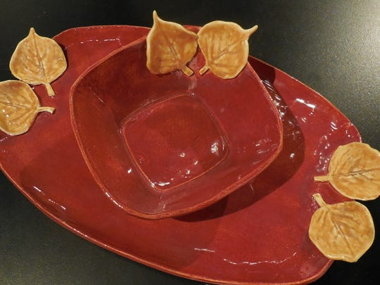 Every hostess needs a handmade ceramic snack set by Patti Browning.