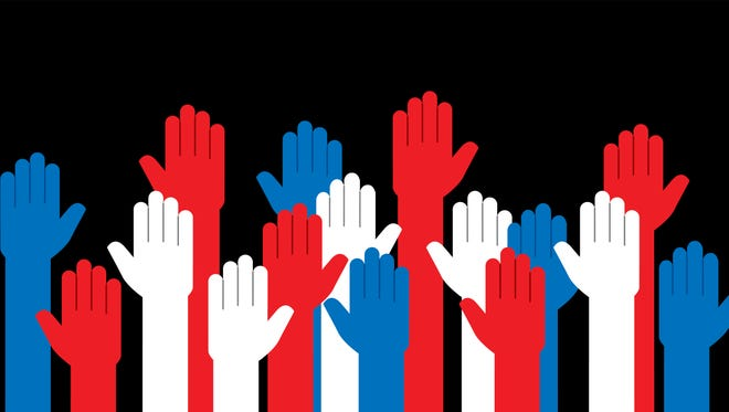 Vector illustration of raised up hands in red white and blue.