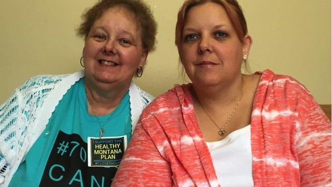 Holly Blouch, right, and her mom pose for a photo before testifying in favor of Medicaid expansion in the Montana Legislature last spring.