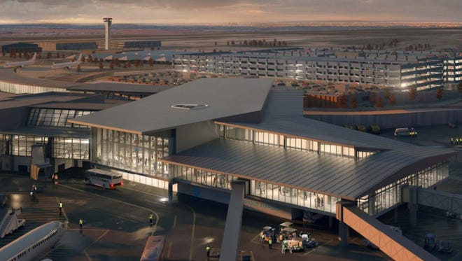 This rendering shows what Oklahoma City's Will Rogers World Airport would look like after a planned terminal expansion.