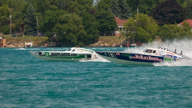 Super Vee Lite class boats race upriver during the St. Clair River Classic, part of St. Clair Riverfest, in 2016.