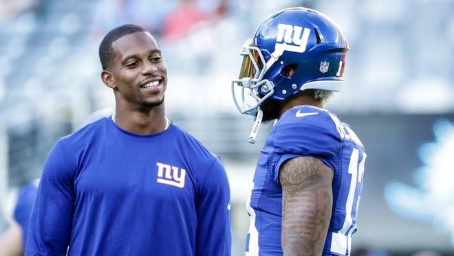 Giants wide receivers Victor Cruz, left, Odell Beckham Jr. , right, and Sterling Shepard, not pictured, are close on and off the field.