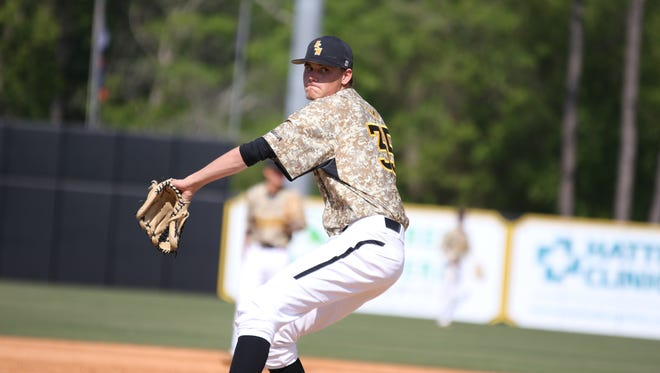USM  pitcher Walker Powell, pictured earlier this year, picked up his fourth win of the season on Sunday.