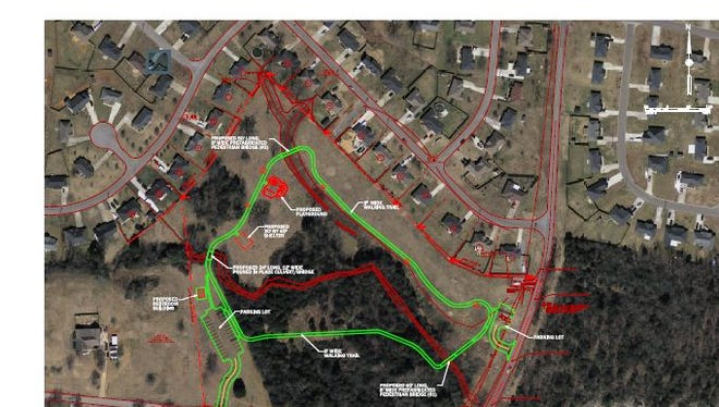 This is the concept plan for the Westfork Neighborhood Park off Florence Road in Smyrna. The park is expected to open in six months and include a walking trail, playground, shelter with picnic tables and restrooms.