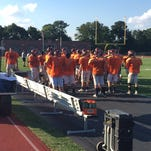 Hanover football players prepare for Friday's scrimmage against Susquehannock.