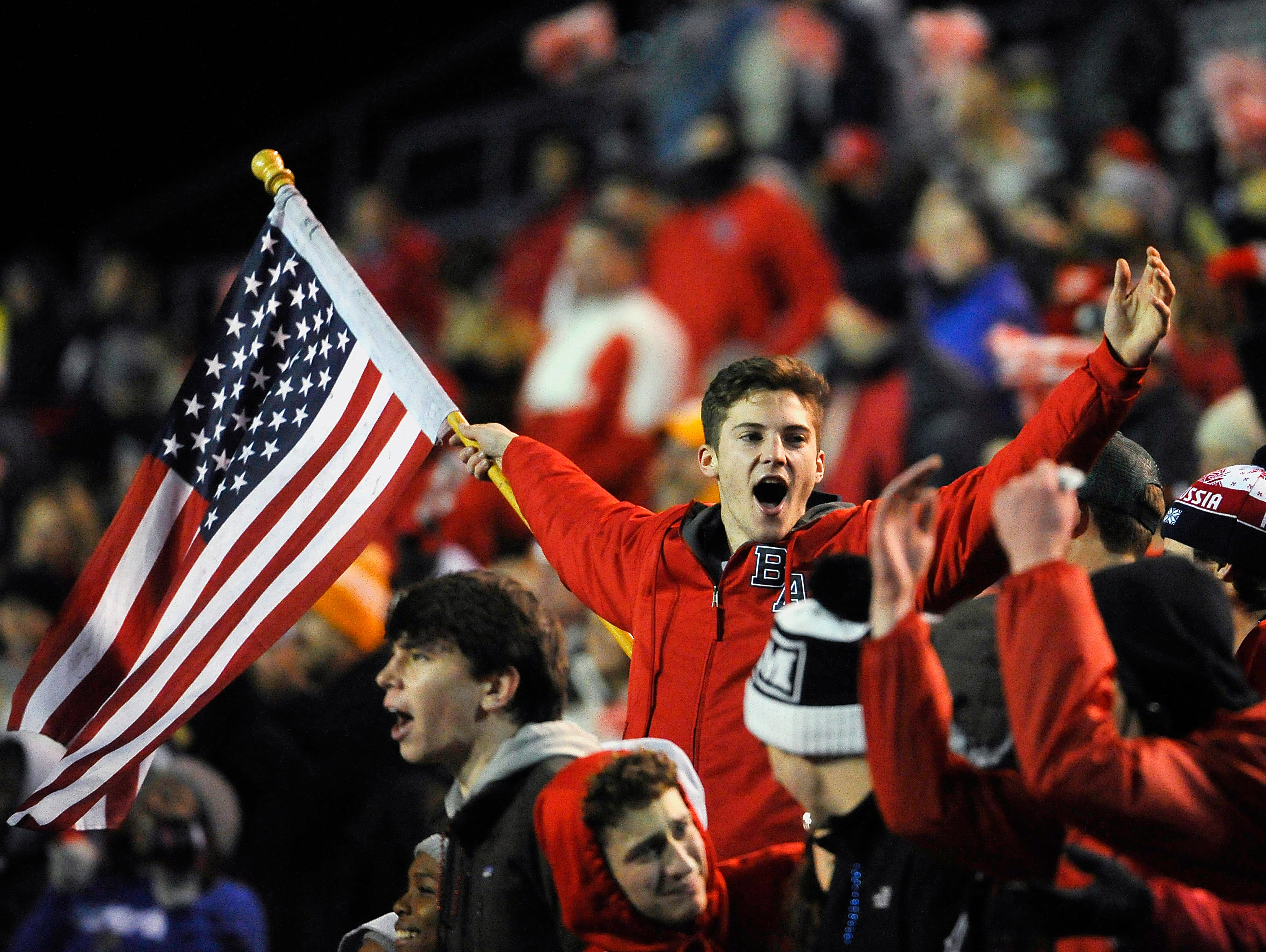 Brentwood Academy fans cheer on their team during the BlueCross Bowl DII-AA state title game on Thursday, Dec. 3, 2015, in Cookeville. Brentwood Academy beat MBA 56-55 in the second overtime period.
