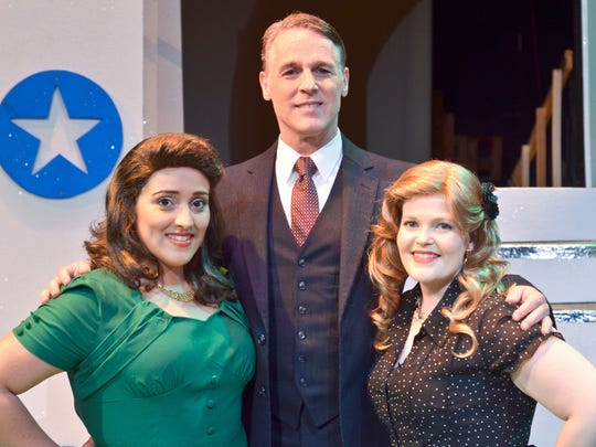 """Stephanie Law as Edith Lawrence, A. Mark Palmer as Clayton James and Natalie Mathis as Ava Brown in """"G.I. Jukebox"""" at Pensacola Little Theatre."""