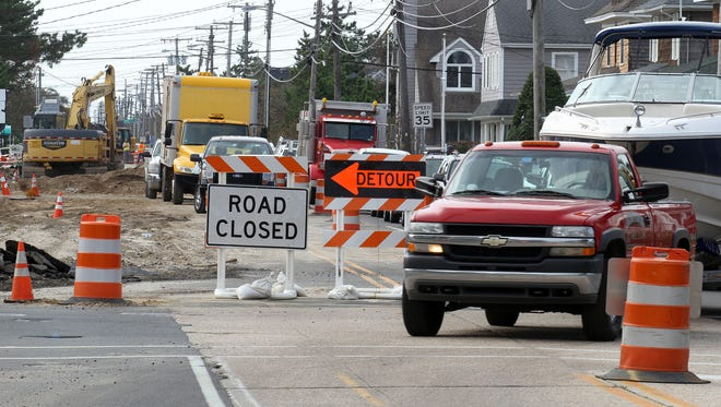Traffic detours around road construction in Bay Head, N.J.
