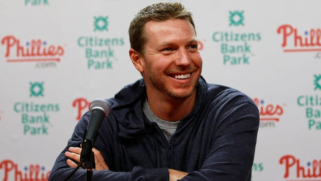 Philadelphia Phillies pitcher Roy Halladay smiles during a baseball news conference, Monday, Oct. 25, 2010, in Philadelphia.