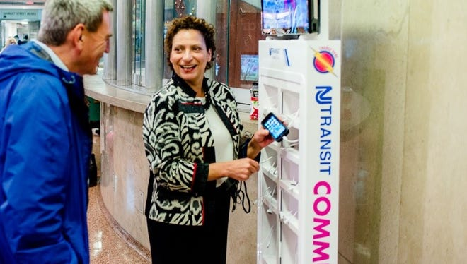 NJ Transit is testing a pilot program that allows riders to charge their cell phones for free at Secaucus Junction and Newark Penn Station.