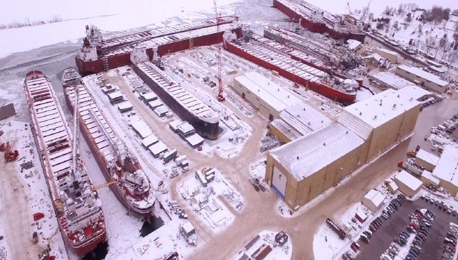 Recent aerial photo of Fincantieri Bay Shipbuilding showing 17 vessels of the Great Lakes bulk carrier fleet at the shipyard for winter repairs.