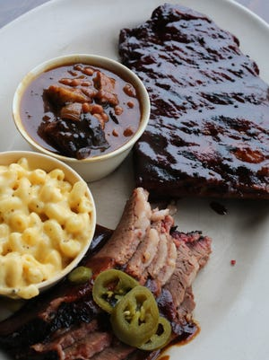 Baby Back ribs and Brisket combo, with mac and cheese and baked beans with burnt ends at Billy Joe's Ribworks on Front Street in Newburgh, April 6, 2017.