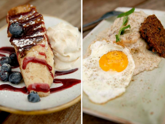 LouVino's French toast, left, biscuits and gravy.