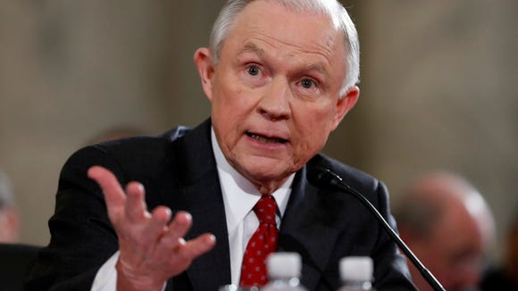 Sen. Jeff Sessions, R-Ala., testifies on Capitol Hill