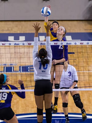 Northern Iowa outhit Drake and won an instate volleyball match in three sets. The Panthers (8-6) hit .333 in the sweep and piled up a 50-34 advantage in kills Saturday at the Knapp Center. Eryca Hingtgen led the Panthers with 12 kills. Autumn Alitz added 10. Northern Iowa also had 48 digs and bounced back from Wednesday's 3-2 loss to Iowa State. Drake (9-5) was seeking its first win against Northern Iowa since 1996. Kyla Inderski led the Bulldogs with 10 kills.