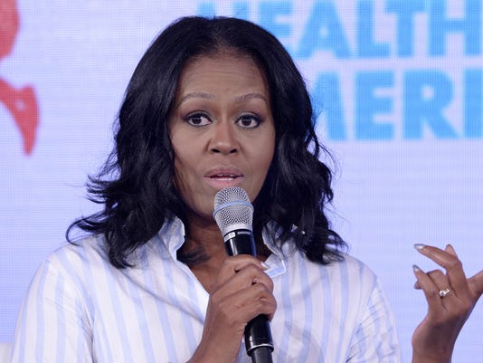First Lady Michelle Obama , Cindy Crawford speak at the Healthier America's 2017 summit - DC