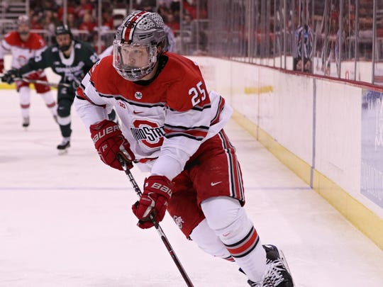 Northville native Brendon Kearney has helped lift Ohio State to the men's ice hockey Frozen Four in St. Paul, Minn.