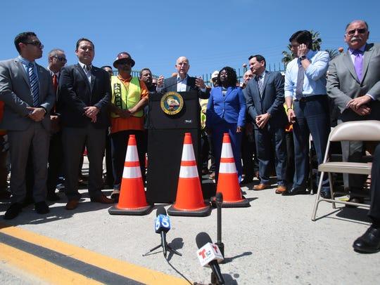 California Governor Jerry Brown speaks in Riverside
