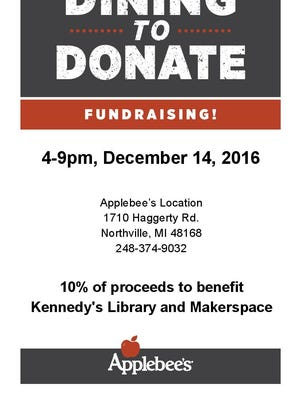 This flyer can be presented Dec. 14 at the Applebees in Northville Township to have 10 percent of the order go to Kennedy Elementary School.