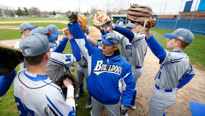 Metuchen's Manager Leo Danik before the game vs. Middlesex, after an 'Athlete Exchange' involving five baseball players from Metuchen and Middlesex, the high school players met in Middlesex to face off against each other. April 17, 2018. Middlesex, NJ.