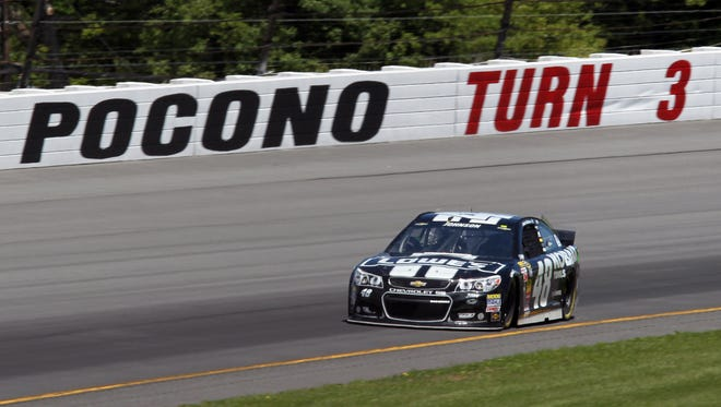 Jimmie Johnson rallied to finish sixth Sunday at Pocono Raceway after a collision on pit road.