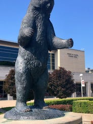 The Missouri State Bear statue stands in front of Plaster