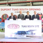 DuPont opens third manufacturing site in Singapore. From left, Manmohan Singh, DuPont Tuas South Site manager; Rik Miller, president of DuPont Crop Protection; Hsing Ho, DuPont Singapore managing director; and George Poe, DuPont Crop Protection Global Integrated Operations leader.
