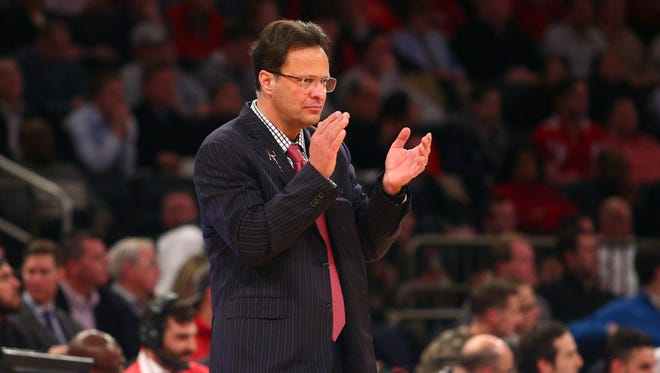 FILE – Tom Crean, shown here during the 2014 Jimmy V Classic, is bringing his Hoosiers back to the Big Apple in 2017 and 2018.