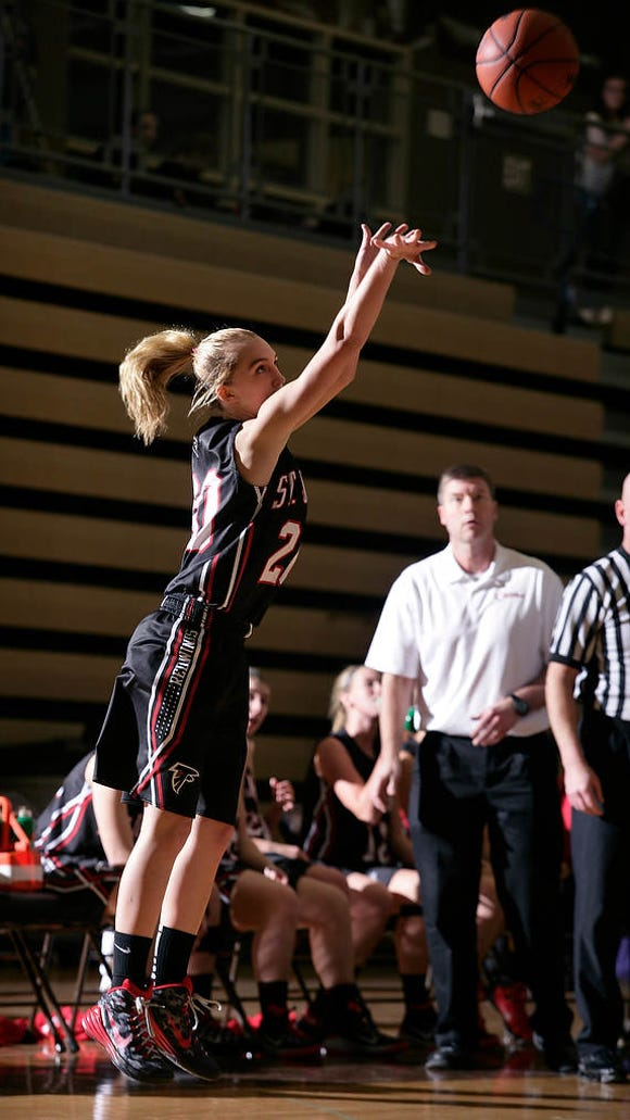 St. Johns' Maddie Maloney launches a 3-pointer against