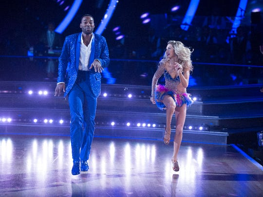 """Calvin Johnson and Lindsay Arnold in the final episode of season 23 of  """"Dancing with the Stars"""""""