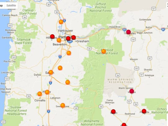 Air quality levels in Salem improved on Wednesday from