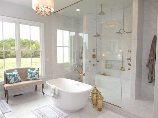 This is the master bathroom in the home built by Woodridge Homes in the Parade of Homes at Hideaway at Arrington.