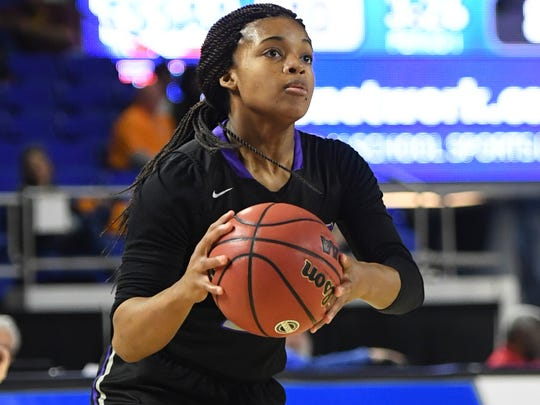 Haywood's Jamirah Shutes went 4-12 from three during the 2018 Class AA semifinals against Upperman, Friday, March 9, in Murfreesboro.
