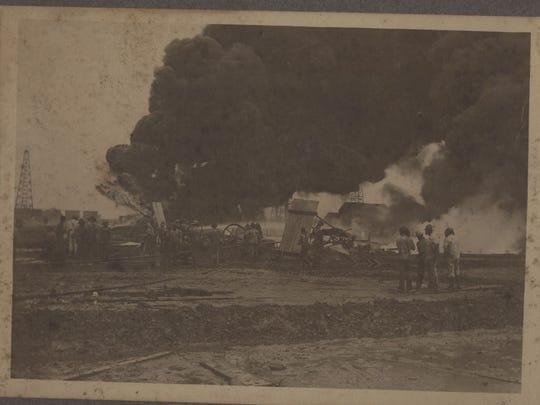 An oilfield fire in the Evangeline field.