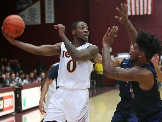 Ioan's Ricky McGill (0) in action against FDU during