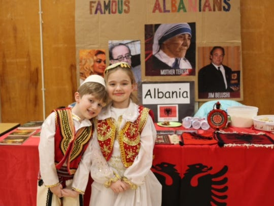 Darvin and Emma Gjoni shared the culture of Albania during the event at Overlook Primary School.